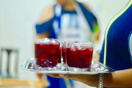 Bites&Booze. Rum infused sorrel cocktail served